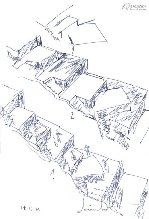 建筑体块组合手绘图