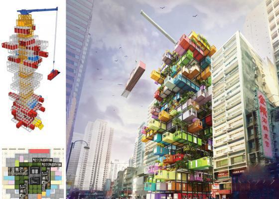 相当霸气!香港移动式蜂巢酒店创意设计图片