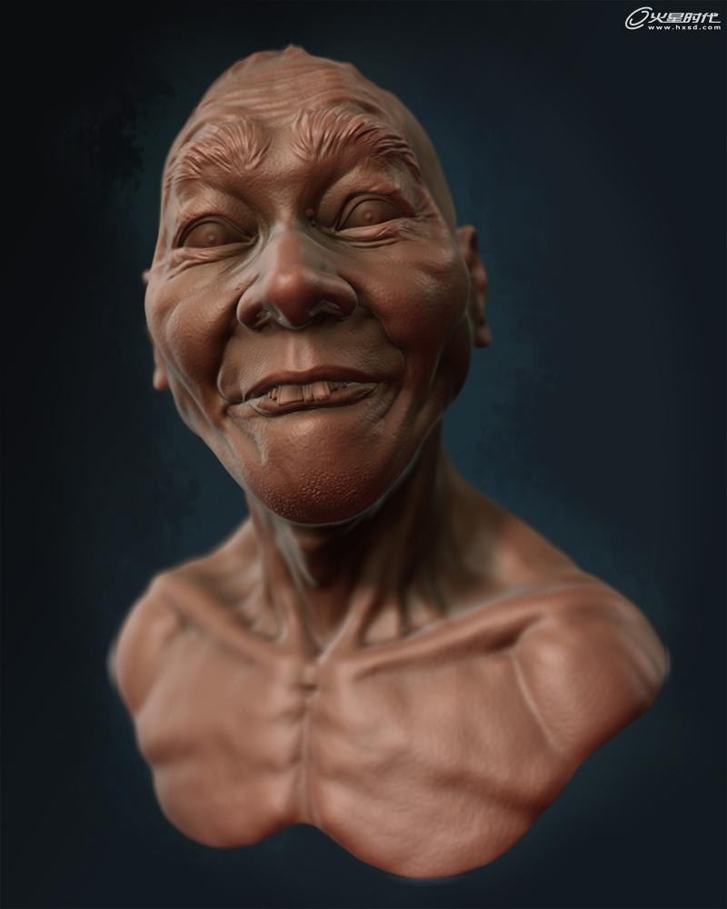 夸张写实人头《龅牙》雕刻制作