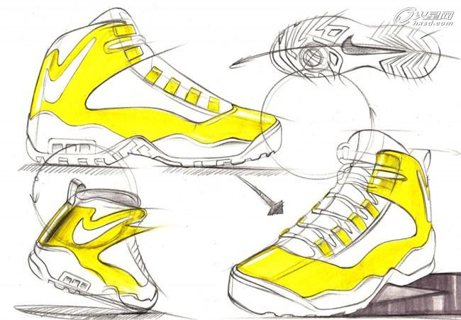 工业设计教程:运动鞋手绘教程