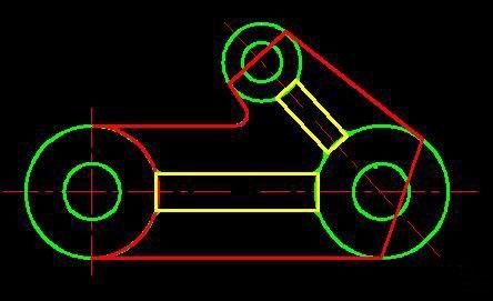 如上文图1所示零件,三个圆柱筒,按尺寸要求画出图4中所示6个绿色圆.