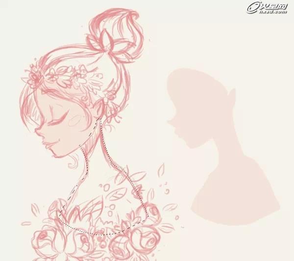 教你绘制戴花环的春之少女插画